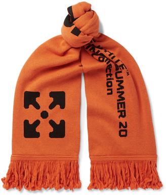 Off-White Logo-jacquard Knitted Scarf - Orange