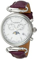 Akribos XXIV Women's AK754PU Swiss Chronograph Quartz Movement Watch with White Mother of Pearl Dial and Purple Leather Calfskin Strap