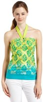 Southpole Juniors Allover Logo Foil Halter Top