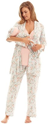 Everly Grey Analise Maternity/Nursing Mommy Me Five-Piece PJ Set (Cloud Blue) Women's Pajama Sets