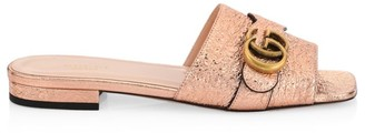 Gucci GG Buckle Marmont Metallic Leather Flat Sandals