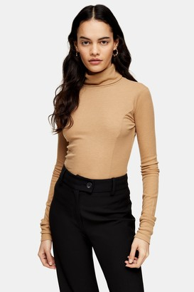 Topshop Camel Roll Neck Sweater