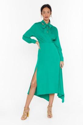 Nasty Gal Womens Good In Good-Tie Satin Midi Dress - Black - S
