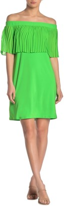 MSK Off-the-Shoulder Pleated Popover Mini Dress