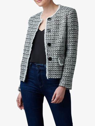 Helene For Denim Wardrobe Judy Tweed Jacket, White/Black