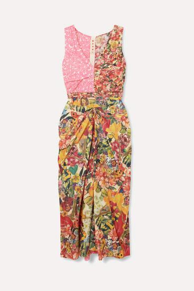 Marni Ruched Floral-print Cotton-poplin Midi Dress - Pink