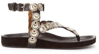 Isabel Marant Eldo Coin-embellished Leather Sandals - Womens - Black