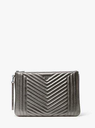 MICHAEL Michael Kors Jet Set Extra-Large Quilted Metallic Leather Pouch