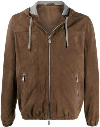 Eleventy Suede Hooded Jacket