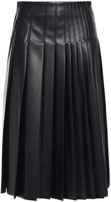 Cédric Charlier Pleated Perforated Faux Leather Midi Skirt