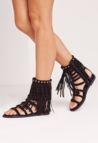 Missguided Faux Suede Tassel Ankle Gladiator Sandals Black