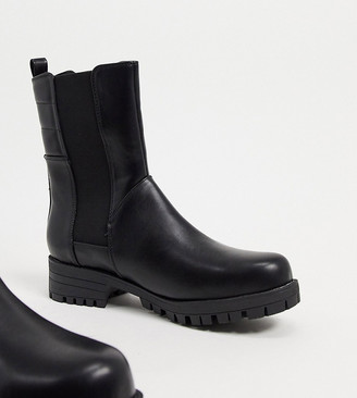 Raid Wide Fit Julia flat biker boots in black