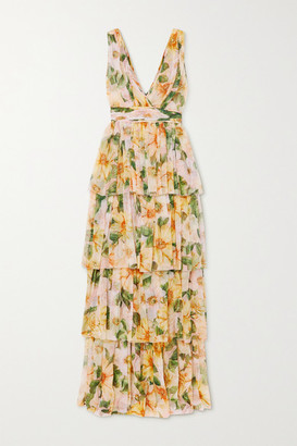 Dolce & Gabbana Tiered Floral-print Silk-chiffon Maxi Dress - Yellow