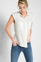 7 For All Mankind Angled Pocket Shirt In Soft White