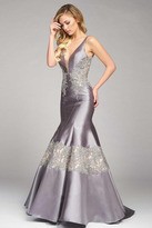 Mac Duggal Couture - 48432 V Neck Gown In Smoke