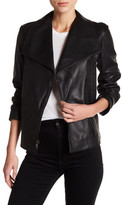 Tahari Kera Genuine Leather Asymmetrical Front Zip Jacket
