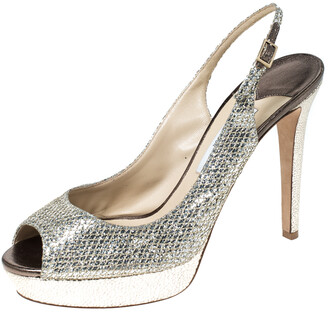 Jimmy Choo Metallic Gold Glitter Verity Peep Toe Slingback Platform Sandals Size 41