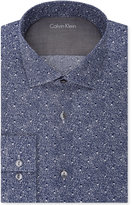 Calvin Klein Men's X Extra-Slim Fit Navy Print Dress Shirt