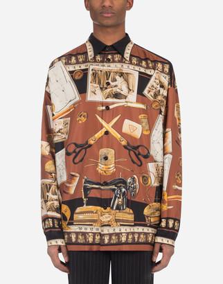 Dolce & Gabbana Tailor-Print Silk Hawaiian Shirt