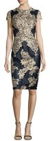 David Meister Short-Sleeve Embroidered Cocktail Dress, Navy/Gold