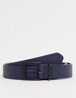 ASOS DESIGN slim belt in navy faux leather with matte black buckle