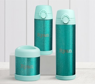 Pottery Barn Kids Mackenzie Aqua Sparkle Glitter Hot & Cold Container