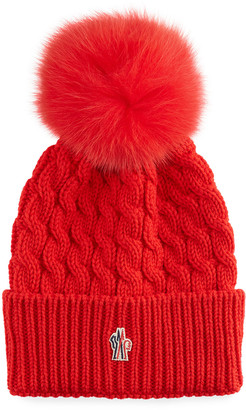 Moncler Wool Cable-Knit Fur Pom Beanie