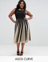 Asos Curve Mesh Fit And Flare Mono Midi Dress