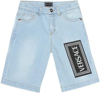 Versace Kids Printed stretch denim shorts