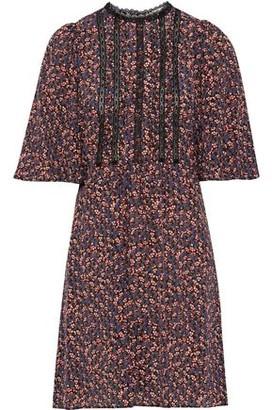 Vanessa Bruno Lace-trimmed Pleated Printed Silk Mini Dress