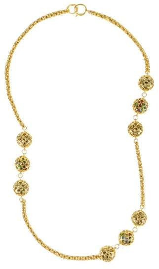 Chanel Gold Tone Metal Multicolor Caged Gripoix Chain Link Station Necklace
