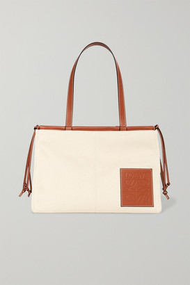 Loewe Paula's Ibiza Cushion Large Leather-trimmed Canvas Tote - Beige