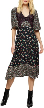 Topshop Mixed Print Midi Dress