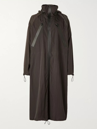 Bottega Veneta Oversized Washed-Shell Hooded Raincoat - Men - Brown