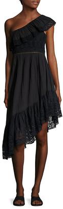 LoveShackFancy Pamela Ruffled One-Shoulder Dress
