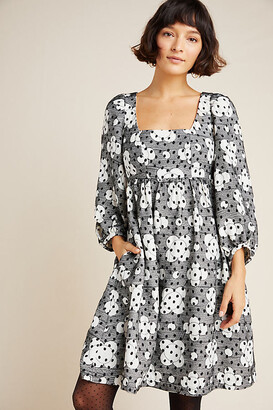 Anthropologie Jane Textured Babydoll Dress By in Black Size 8