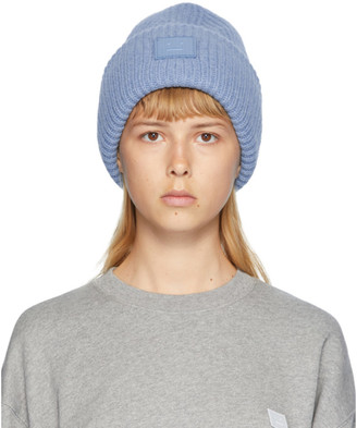 Acne Studios Blue Rib Knit Patch Beanie