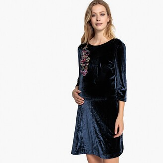 La Redoute Collections Velvet Maternity Dress with Print on Front