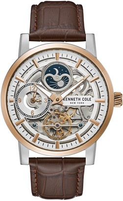 Kenneth Cole NY Men's Brown Leather Band Skeleton Watch