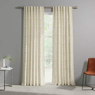 west elm Cotton Canvas Tossed Ferns Curtains (Set of 2) - Dark Horseradish
