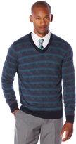Perry Ellis Multi Color Pattern V-Neck Sweater