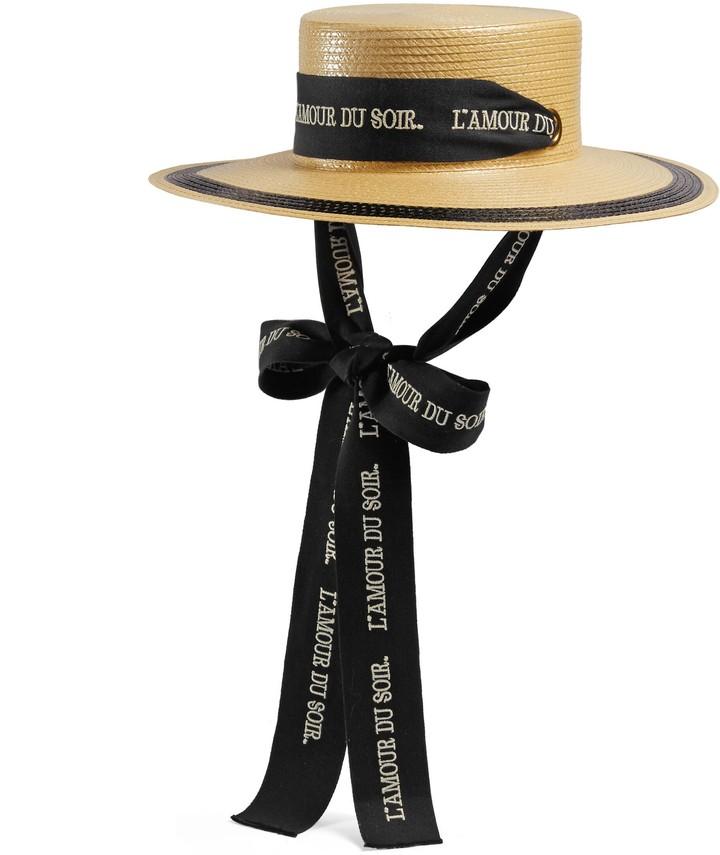 Gucci Straw effect wide brim hat with ribbon