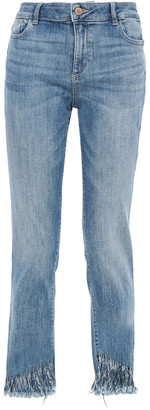 DL1961 Distressed Mid-rise Straight-leg Jeans