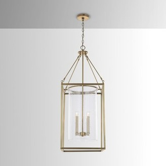 Everly Overbey 4 - Light Lantern Rectangle Chandelier with Glass Accents Quinn Finish: Aged Brass