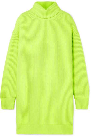Christopher Kane Oversized Ribbed Cashmere Turtleneck Sweater - Chartreuse