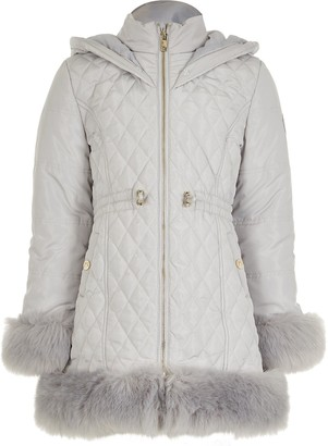 River Island Girls Quilted Faux Fur Trim Coat -Grey