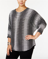 Alfani Plus Size Richly-Textured Dolman-Sleeve Top, Only at Macy's