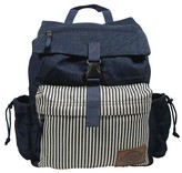 Dickies Printed Rucksack Canvas Backpack Handbag with Front Zip Pocket Side Water Bottle Pockets with Stripes - Blue
