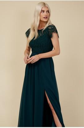 Little Mistress Bridesmaid Sonja Emerald Green Lace Maxi Dress
