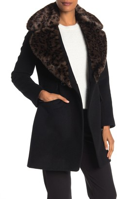 Via Spiga Leopard Faux Fur Collar Wool Blend Textured Coat